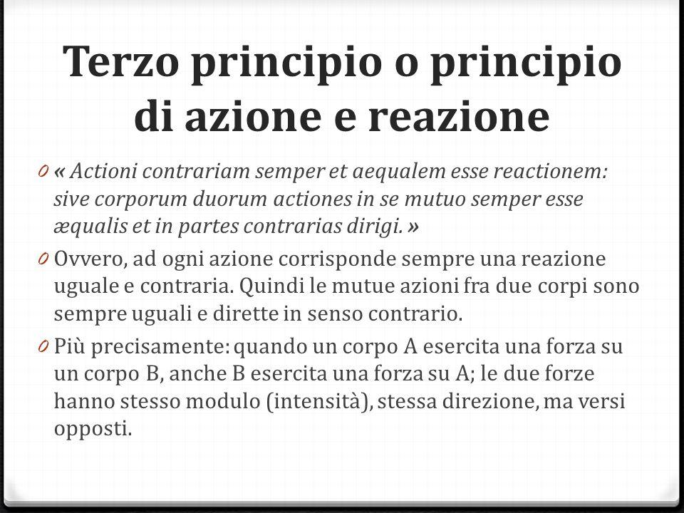 Terzo principio o principio di azione e reazione