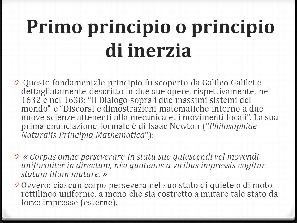 Primo principio o principio di inerzia