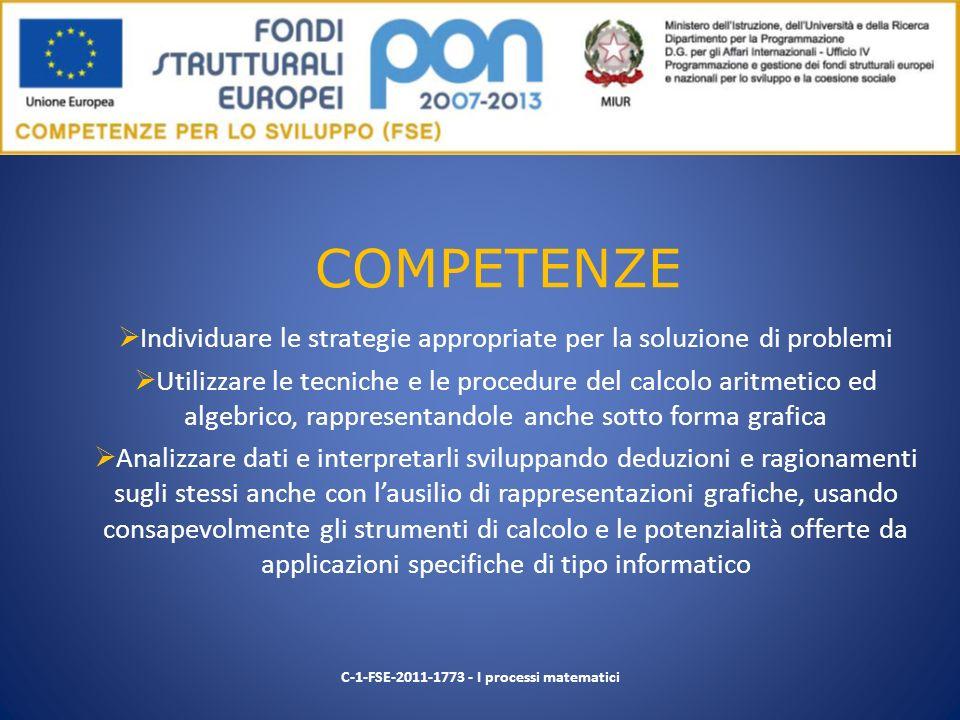COMPETENZE Individuare le strategie appropriate per la soluzione di problemi.
