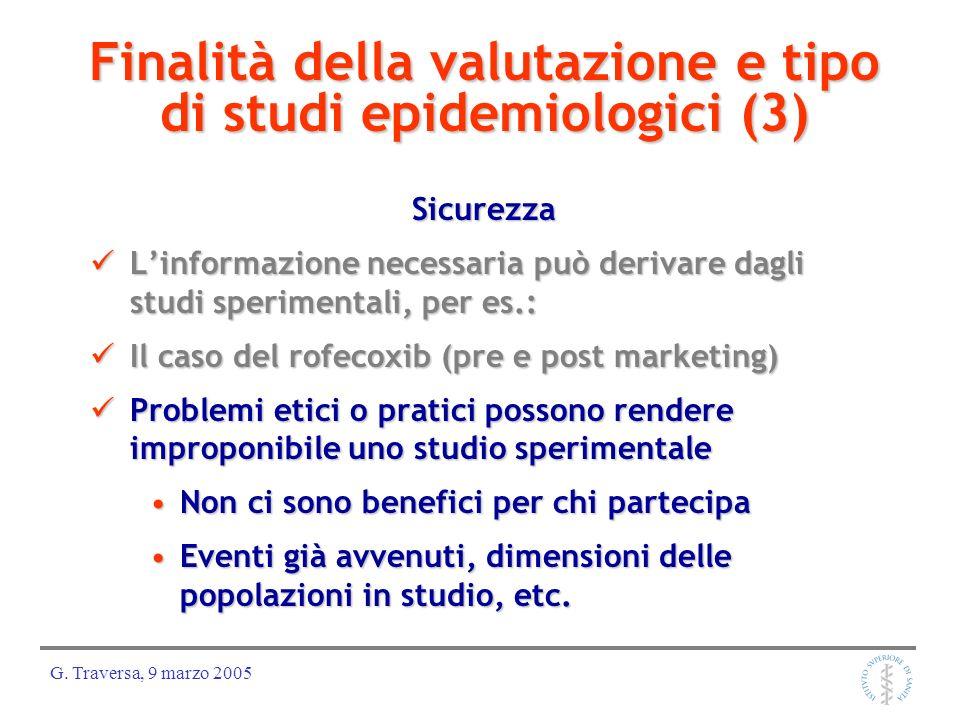 Finalità della valutazione e tipo di studi epidemiologici (3)