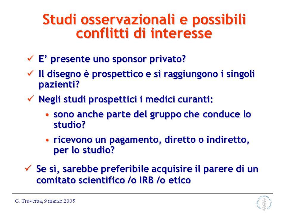 Studi osservazionali e possibili conflitti di interesse