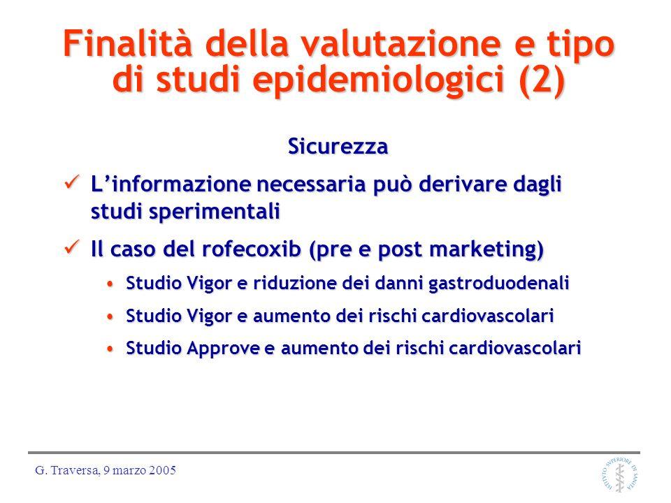 Finalità della valutazione e tipo di studi epidemiologici (2)
