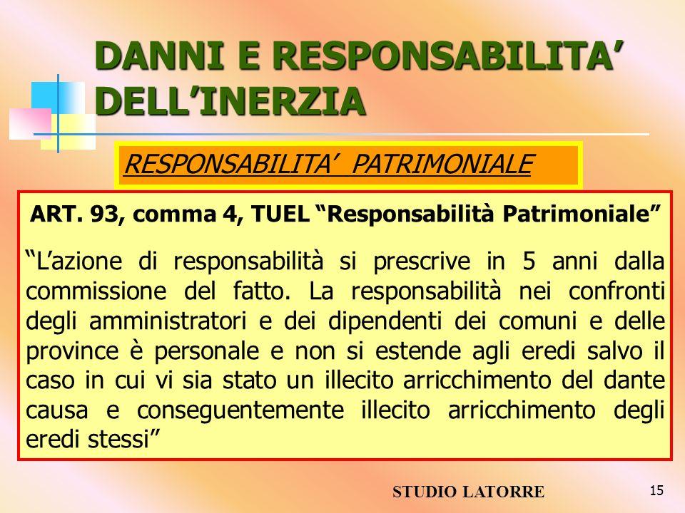 DANNI E RESPONSABILITA' DELL'INERZIA