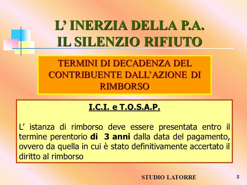 TERMINI DI DECADENZA DEL CONTRIBUENTE DALL'AZIONE DI RIMBORSO