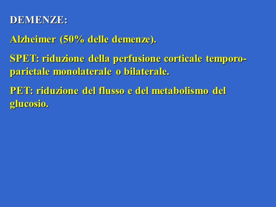DEMENZE: Alzheimer (50% delle demenze). SPET: riduzione della perfusione corticale temporo-parietale monolaterale o bilaterale.