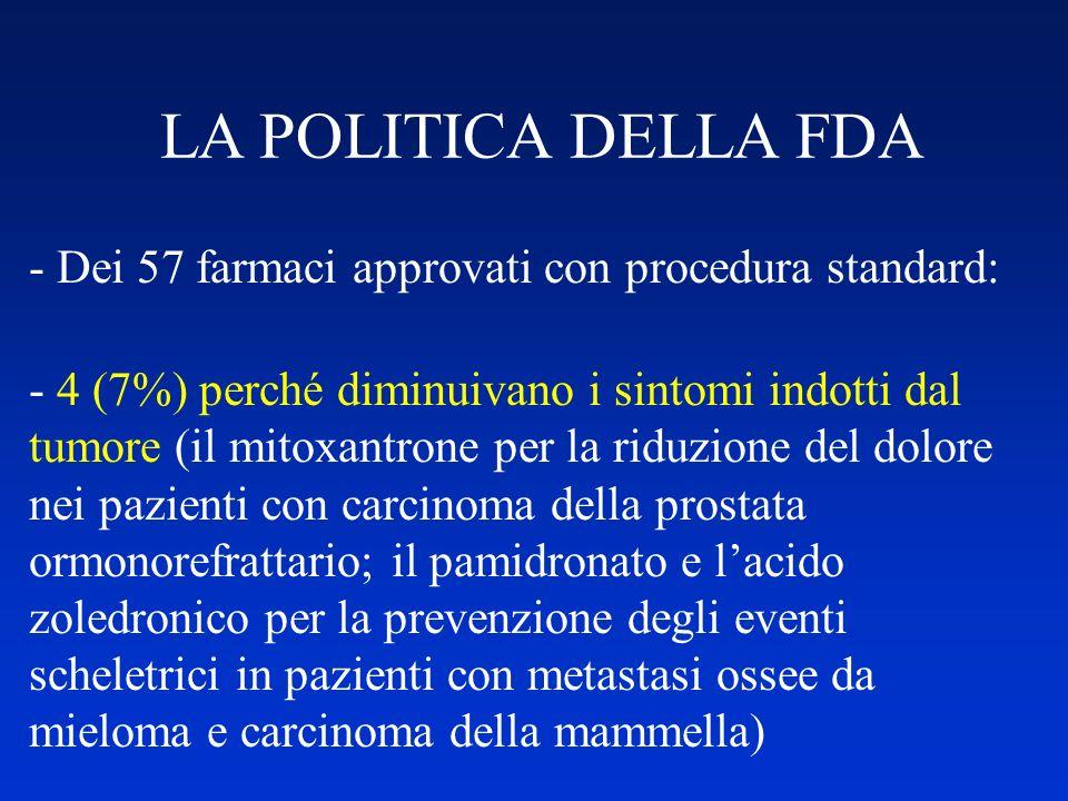 LA POLITICA DELLA FDA - Dei 57 farmaci approvati con procedura standard: