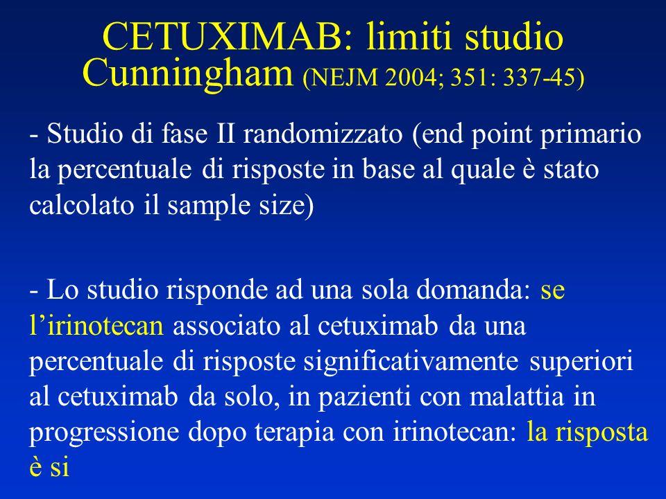 CETUXIMAB: limiti studio Cunningham (NEJM 2004; 351: 337-45)