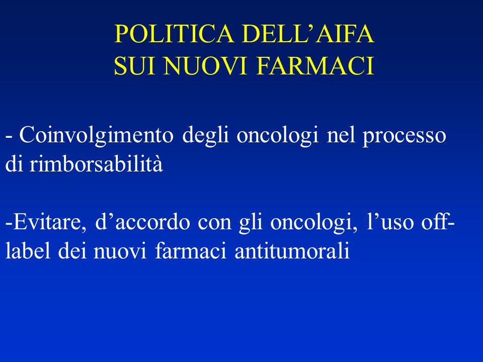 POLITICA DELL'AIFA SUI NUOVI FARMACI