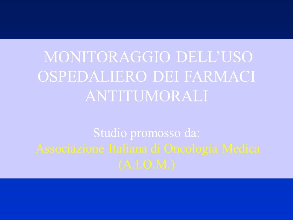 MONITORAGGIO DELL'USO OSPEDALIERO DEI FARMACI ANTITUMORALI Studio promosso da: Associazione Italiana di Oncologia Medica (A.I.O.M.)