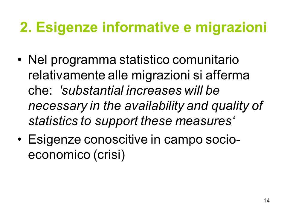2. Esigenze informative e migrazioni