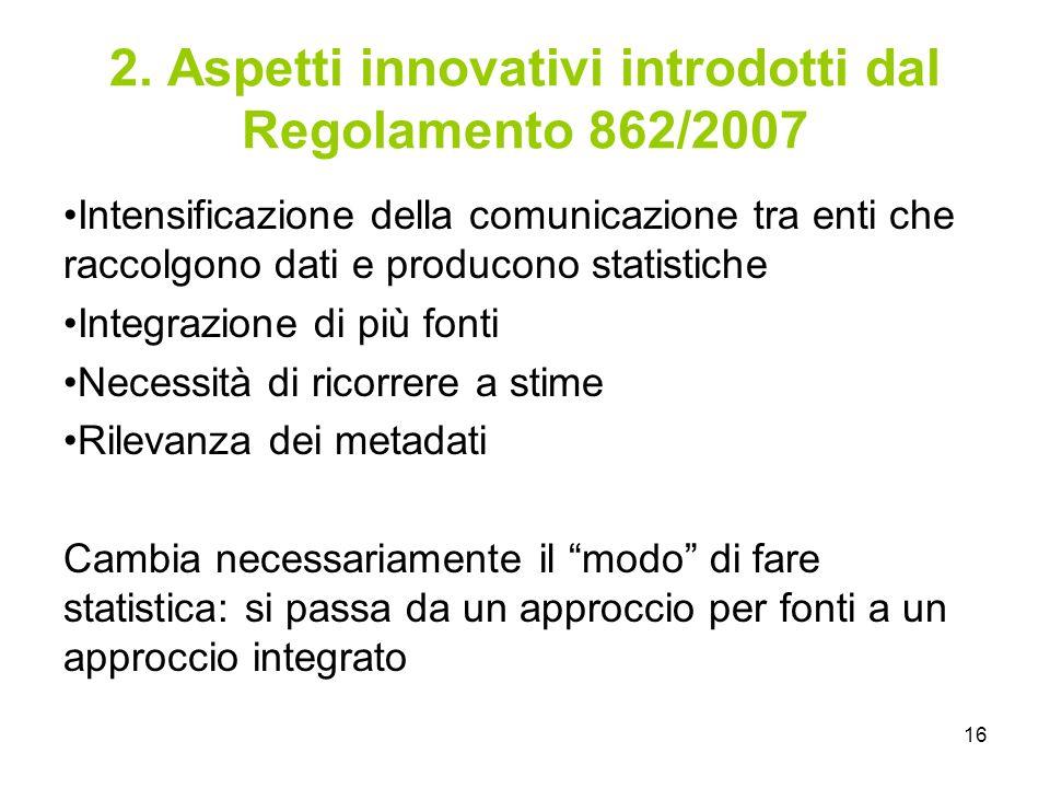 2. Aspetti innovativi introdotti dal Regolamento 862/2007