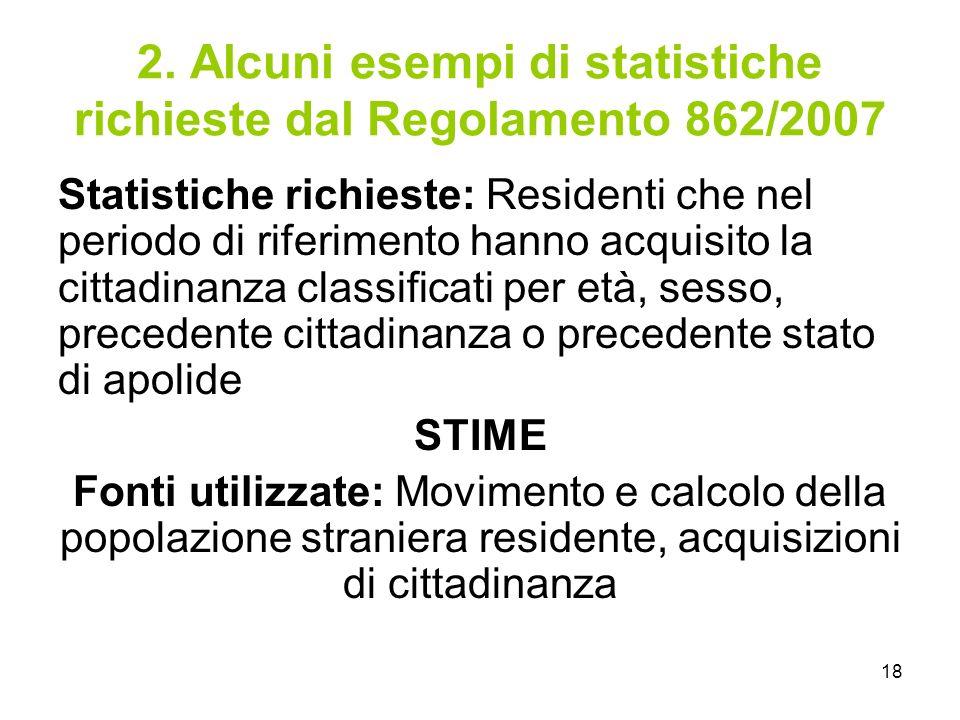 2. Alcuni esempi di statistiche richieste dal Regolamento 862/2007