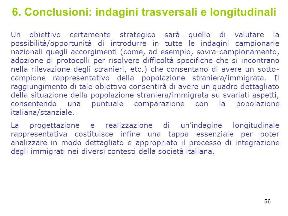 6. Conclusioni: indagini trasversali e longitudinali