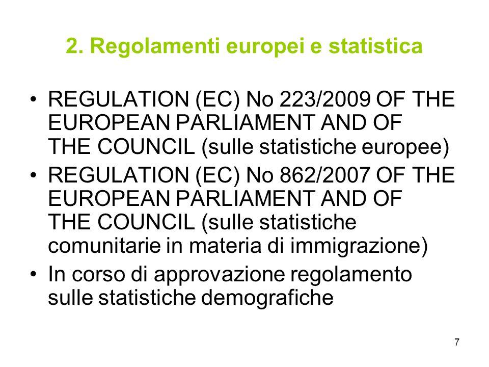 2. Regolamenti europei e statistica