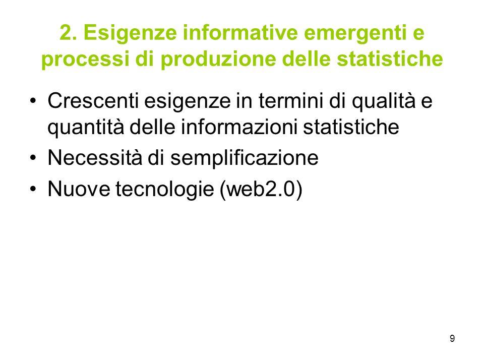 2. Esigenze informative emergenti e processi di produzione delle statistiche
