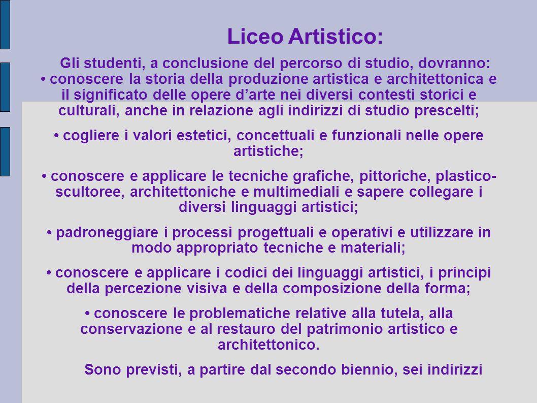 Liceo Artistico:Gli studenti, a conclusione del percorso di studio, dovranno:
