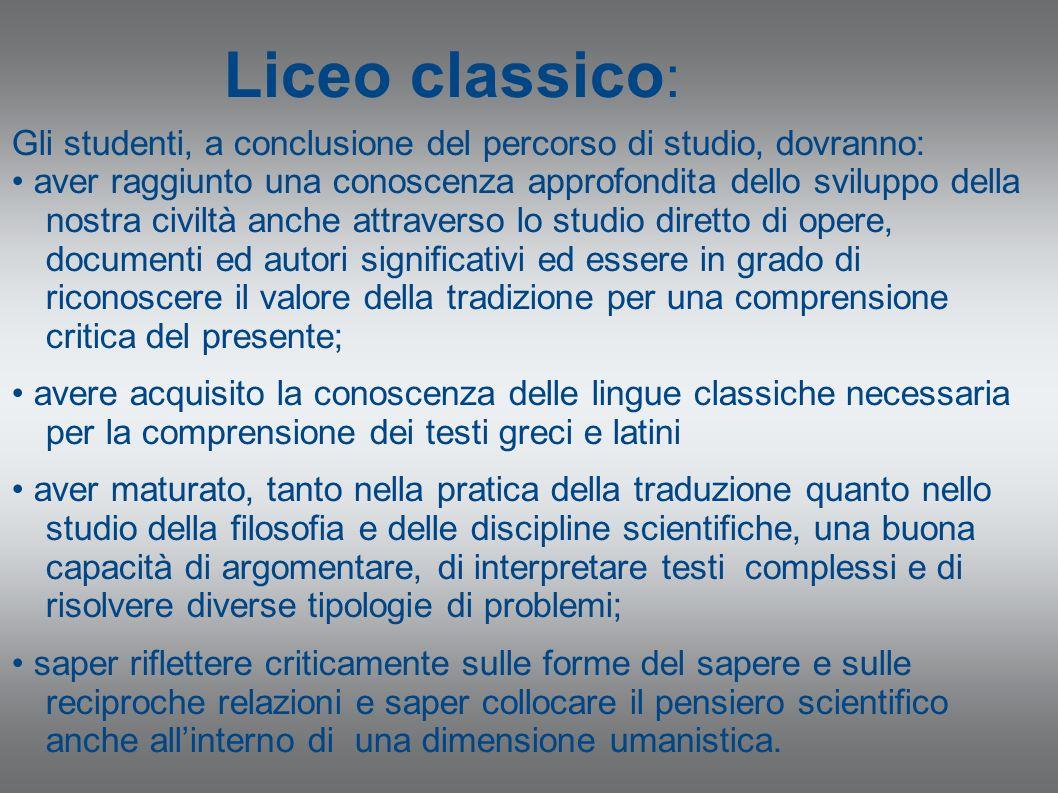 Liceo classico: Gli studenti, a conclusione del percorso di studio, dovranno: