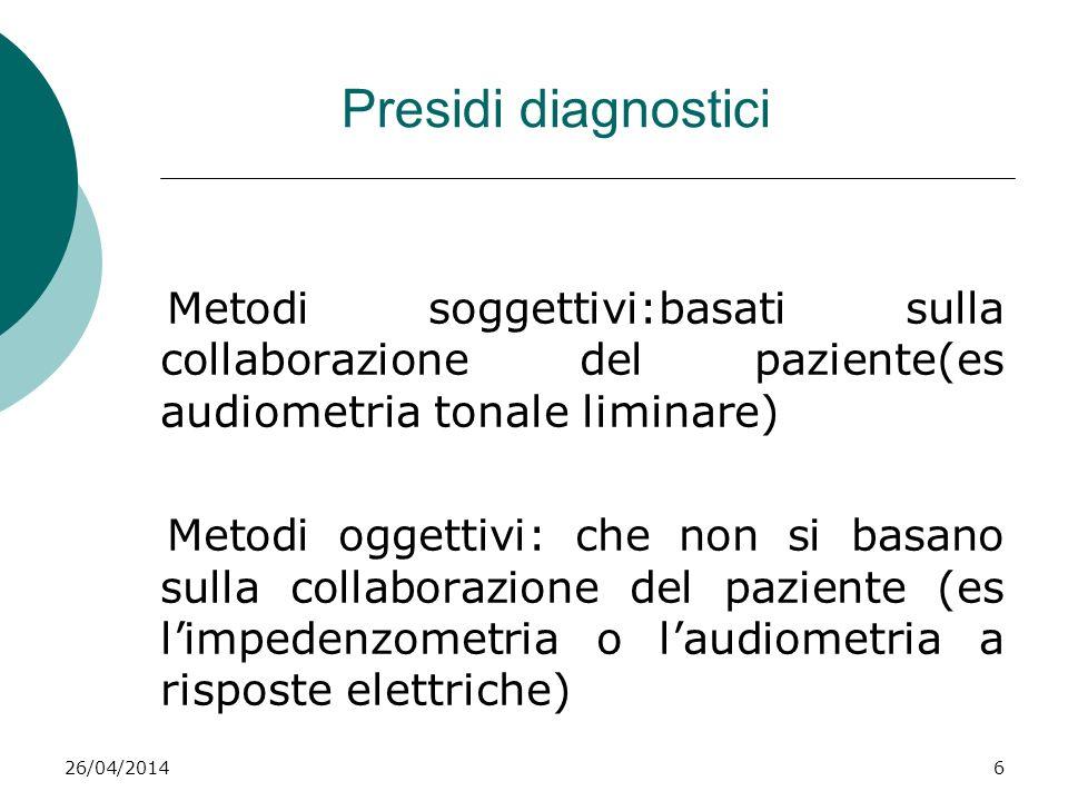 Presidi diagnostici Metodi soggettivi:basati sulla collaborazione del paziente(es audiometria tonale liminare)