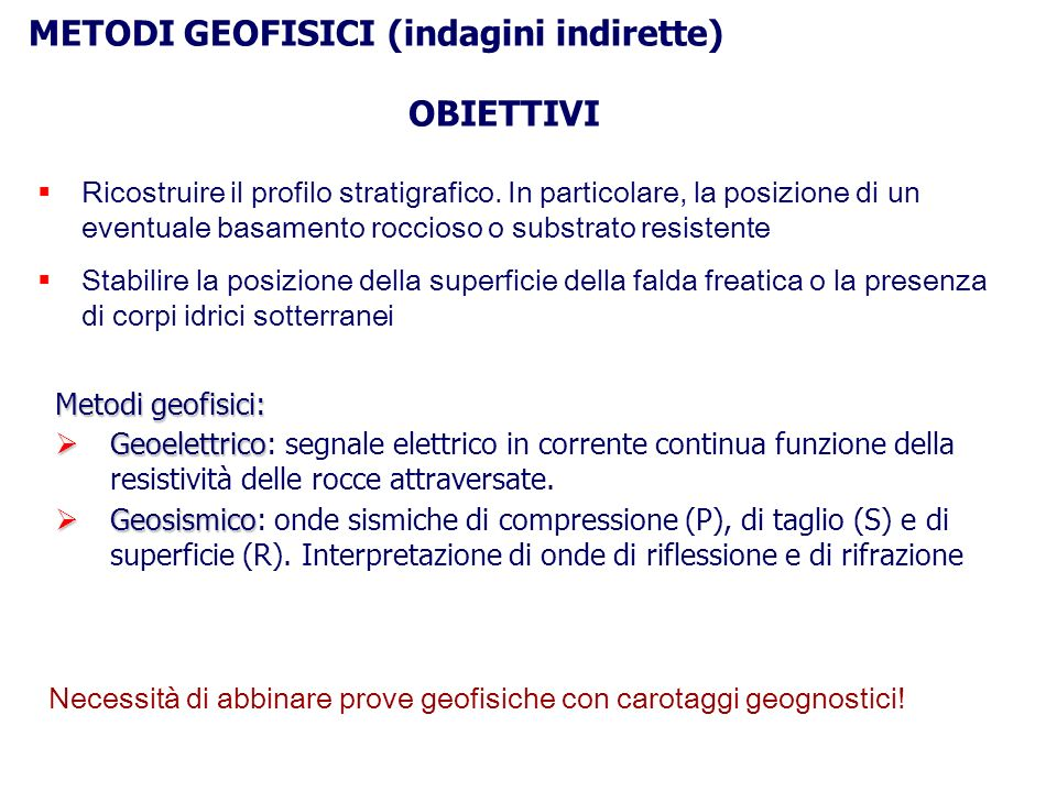 METODI GEOFISICI (indagini indirette)