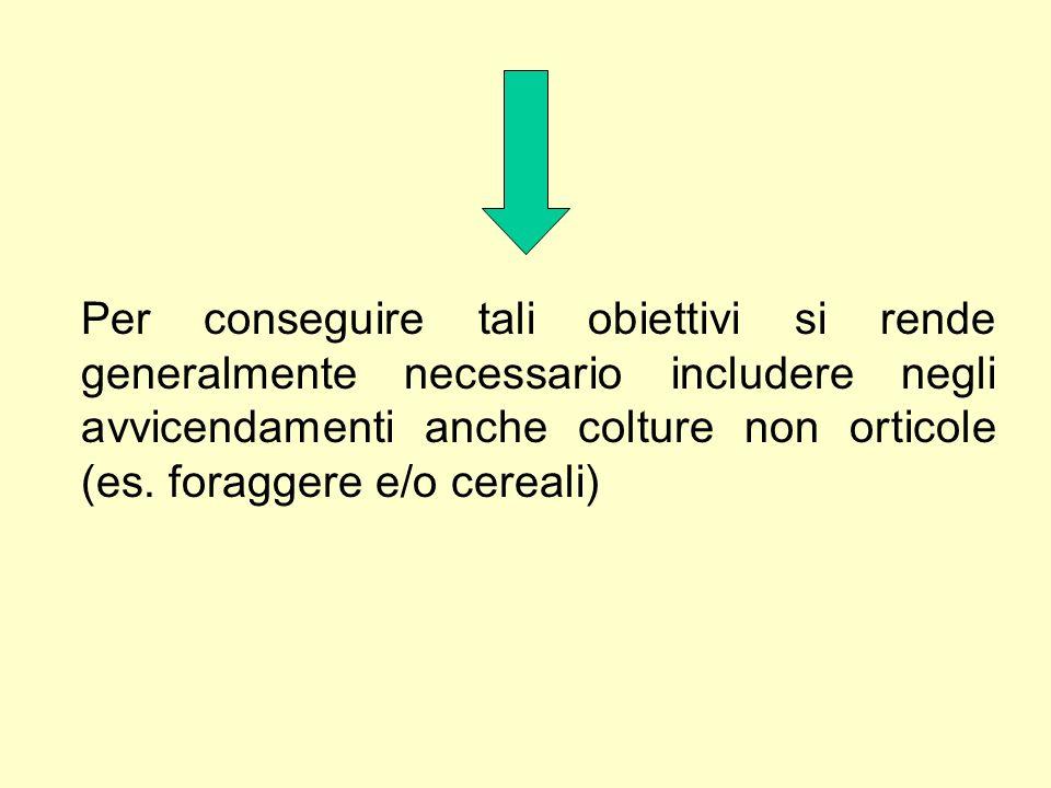 Per conseguire tali obiettivi si rende generalmente necessario includere negli avvicendamenti anche colture non orticole (es.