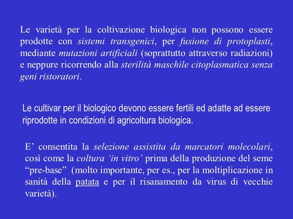 Le varietà per la coltivazione biologica non possono essere prodotte con sistemi transgenici, per fusione di protoplasti, mediante mutazioni artificiali (soprattutto attraverso radiazioni) e neppure ricorrendo alla sterilità maschile citoplasmatica senza geni ristoratori.