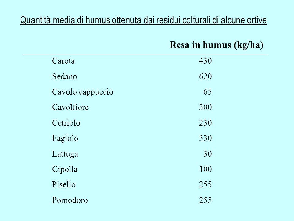 Quantità media di humus ottenuta dai residui colturali di alcune ortive