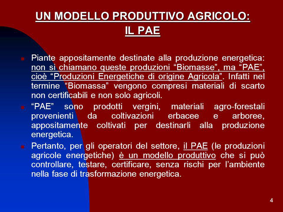 UN MODELLO PRODUTTIVO AGRICOLO: