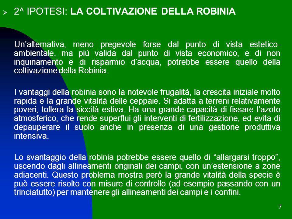 2^ IPOTESI: LA COLTIVAZIONE DELLA ROBINIA