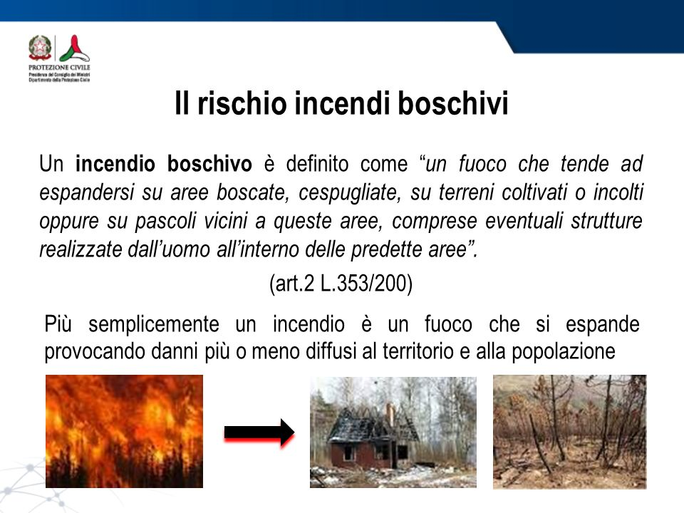 Il rischio incendi boschivi