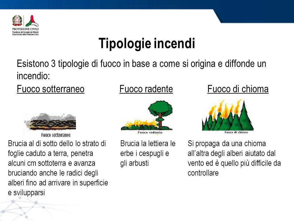 Tipologie incendi Esistono 3 tipologie di fuoco in base a come si origina e diffonde un incendio: Fuoco sotterraneo.