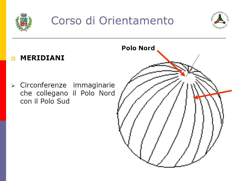 Circonferenze immaginarie che collegano il Polo Nord con il Polo Sud