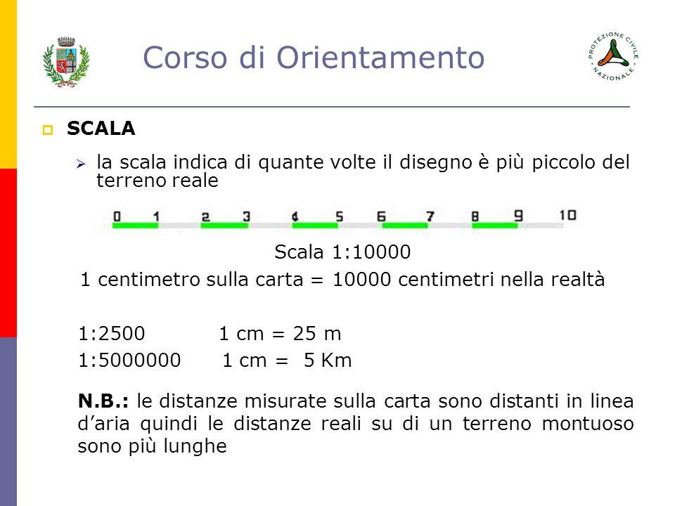 1 centimetro sulla carta = 10000 centimetri nella realtà