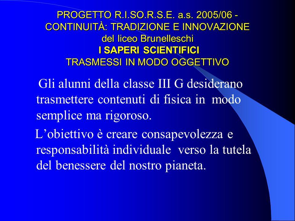 PROGETTO R.I.SO.R.S.E. a.s. 2005/06 - CONTINUITÀ: TRADIZIONE E INNOVAZIONE del liceo Brunelleschi I SAPERI SCIENTIFICI TRASMESSI IN MODO OGGETTIVO