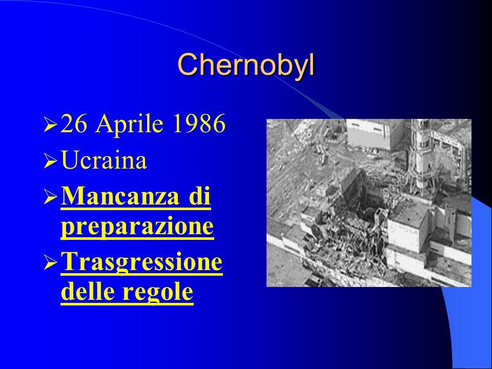 Chernobyl 26 Aprile 1986 Ucraina Mancanza di preparazione