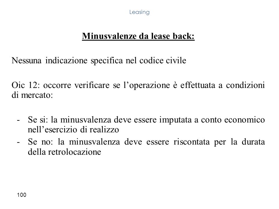Minusvalenze da lease back: