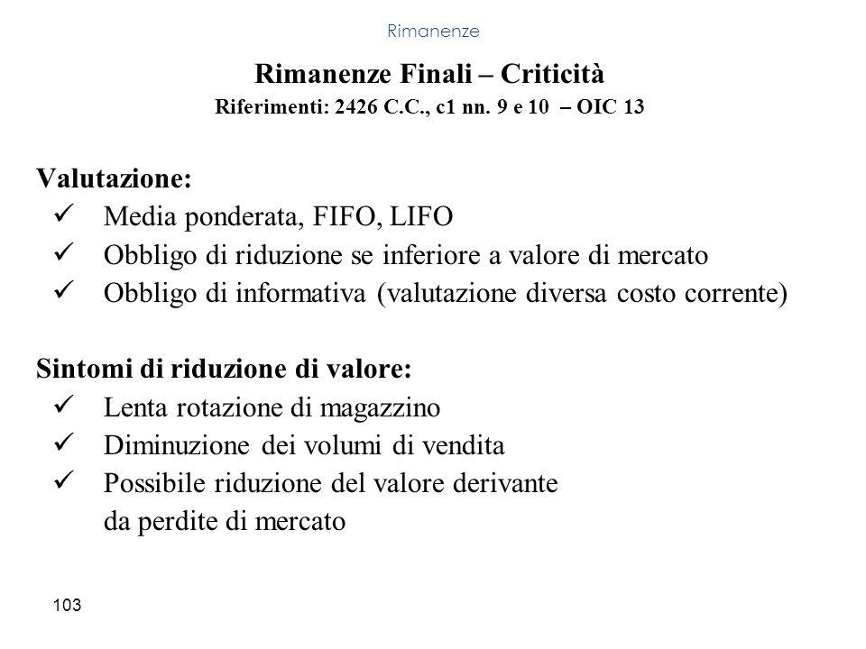 Rimanenze Finali – Criticità