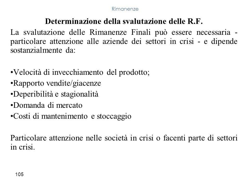 Determinazione della svalutazione delle R.F.