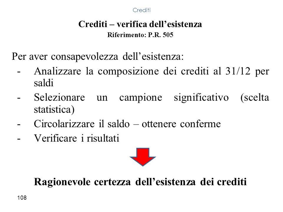 Ragionevole certezza dell'esistenza dei crediti