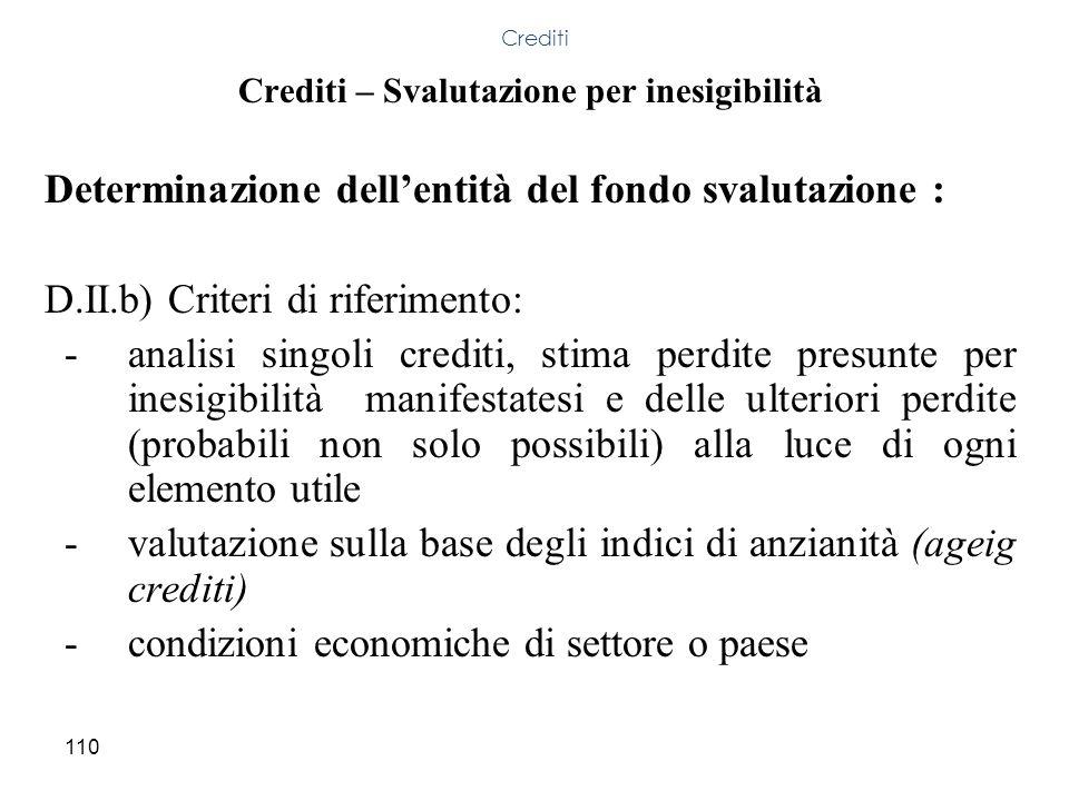 Crediti – Svalutazione per inesigibilità