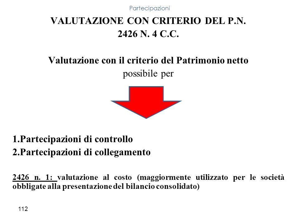 VALUTAZIONE CON CRITERIO DEL P.N. 2426 N. 4 C.C.