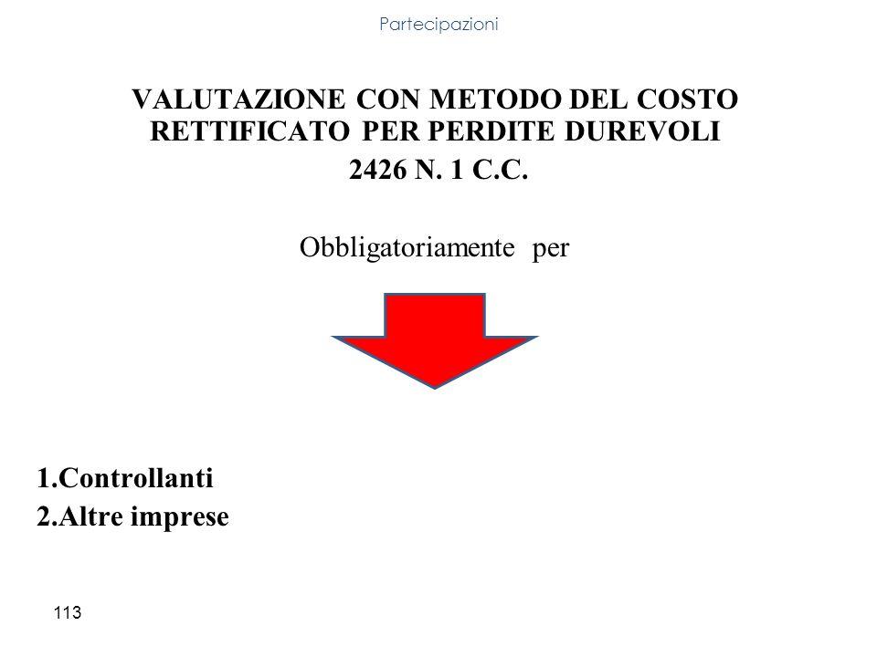 VALUTAZIONE CON METODO DEL COSTO RETTIFICATO PER PERDITE DUREVOLI