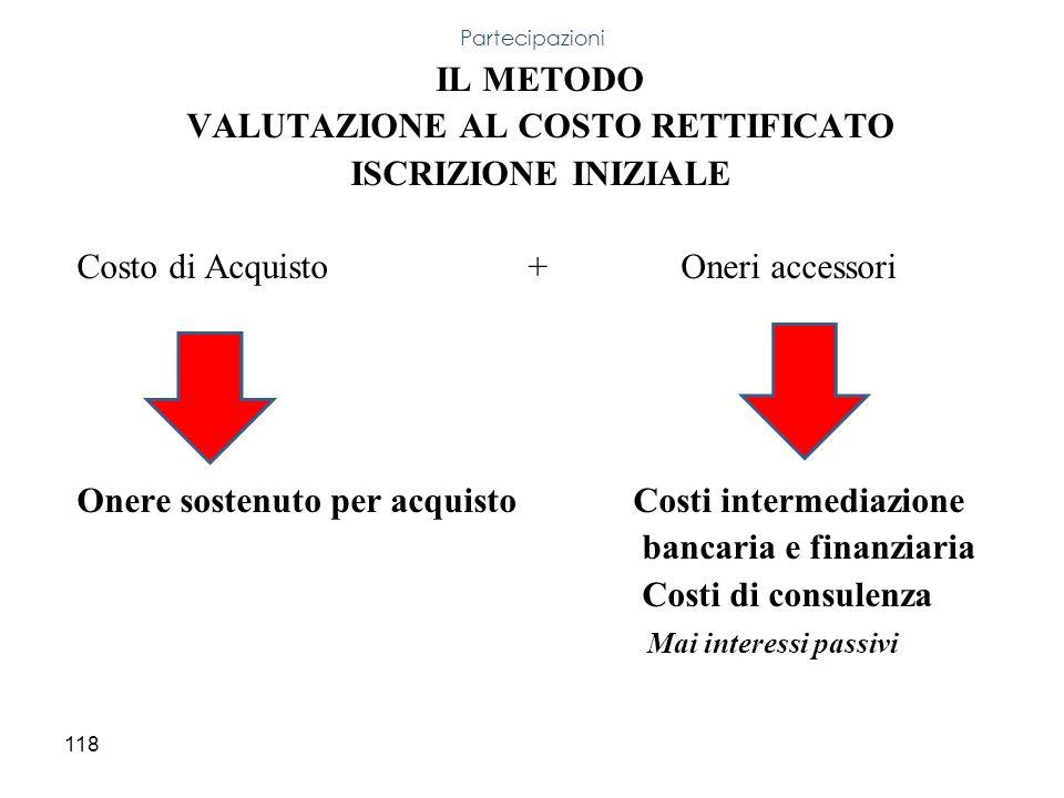 VALUTAZIONE AL COSTO RETTIFICATO