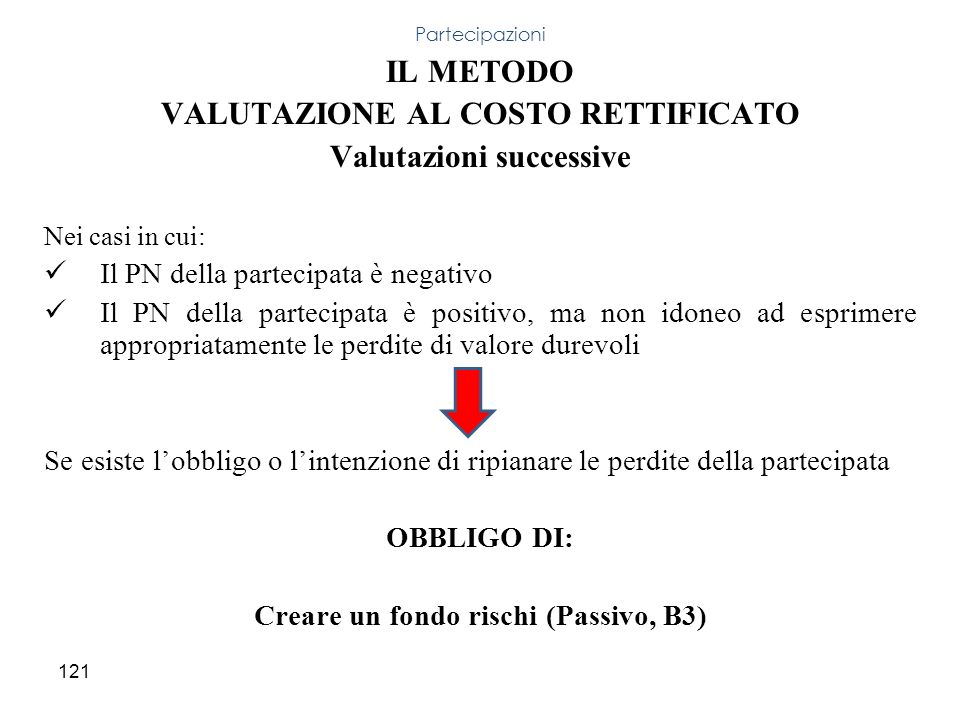 IL METODO VALUTAZIONE AL COSTO RETTIFICATO Valutazioni successive