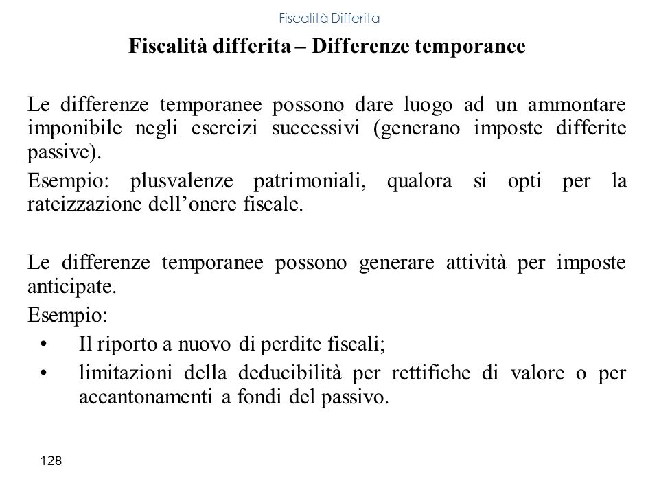 Fiscalità differita – Differenze temporanee