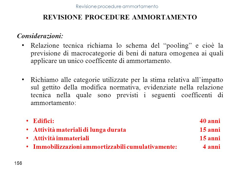 Revisione procedure ammortamento