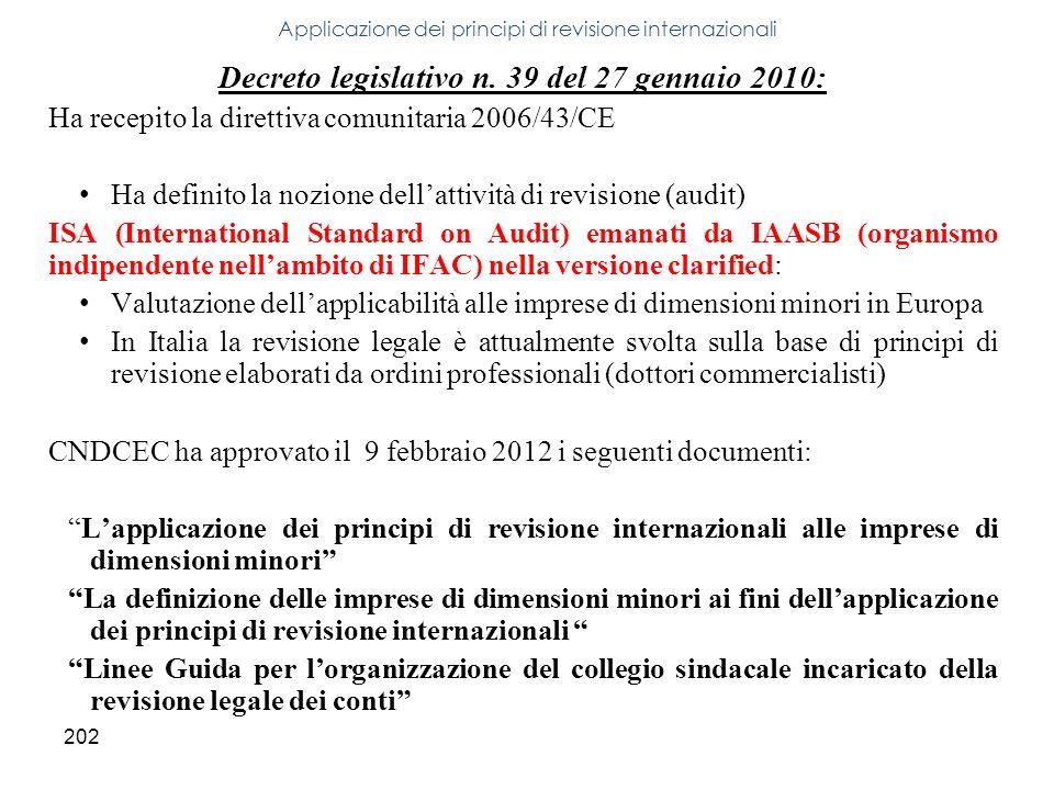 Applicazione dei principi di revisione internazionali