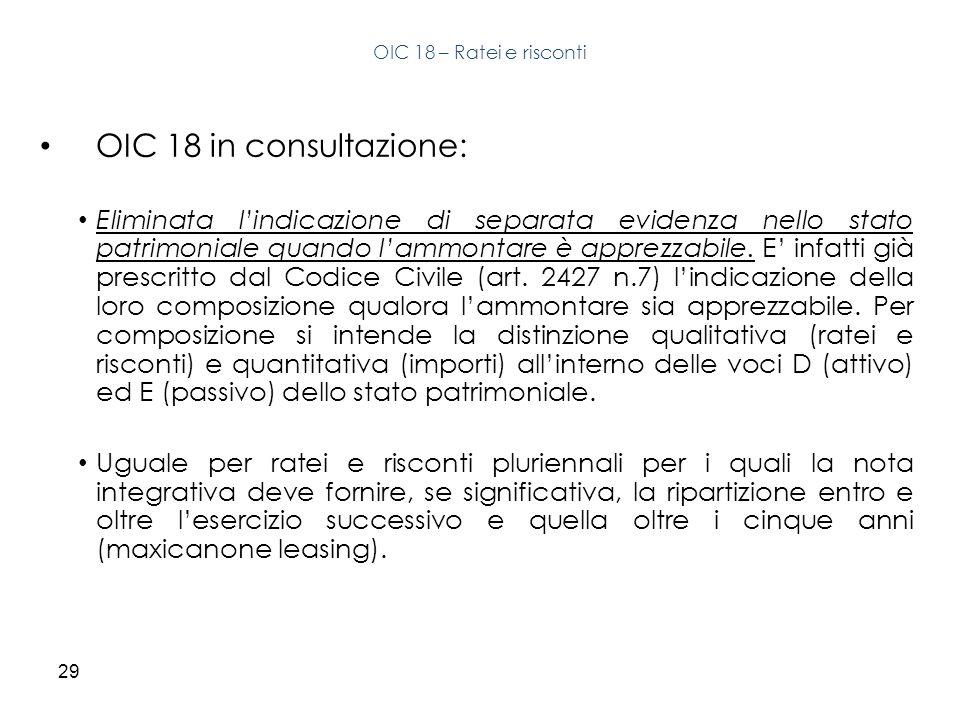 OIC 18 – Ratei e risconti OIC 18 in consultazione: