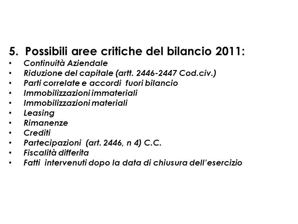 5. Possibili aree critiche del bilancio 2011:
