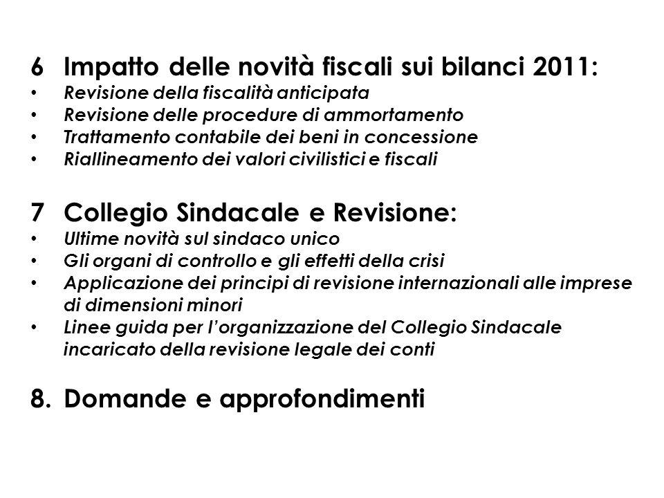 6 Impatto delle novità fiscali sui bilanci 2011: