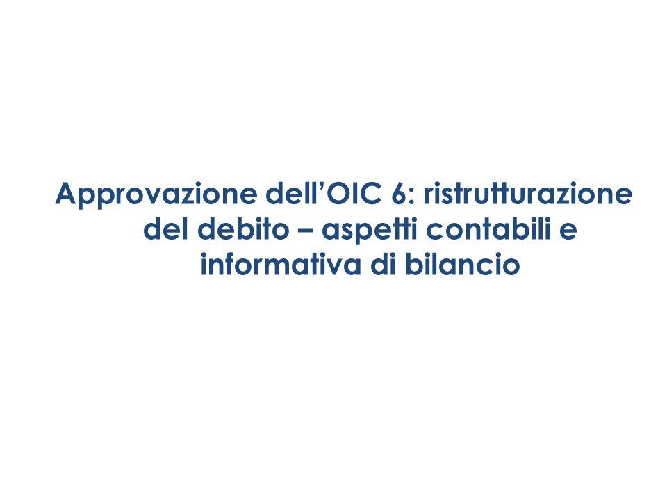 Approvazione dell'OIC 6: ristrutturazione del debito – aspetti contabili e informativa di bilancio